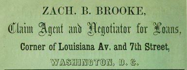 Ad, Washington City Directory 1860