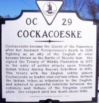 Cockacoskie Pamunky Weroance Powhatan