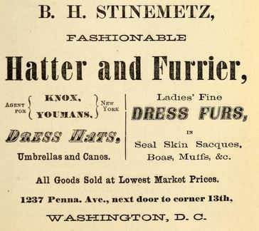 Ad, Washington City Directory 1876