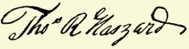 "Signatures of ""Hazard family of Rhode Island"""